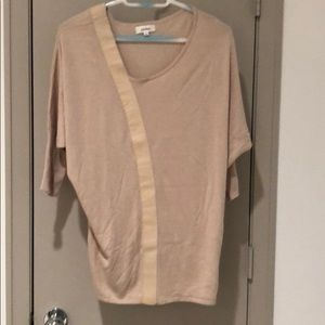 Neiman Marcus Sweaters - 🍎Beige Sweater with leather trim